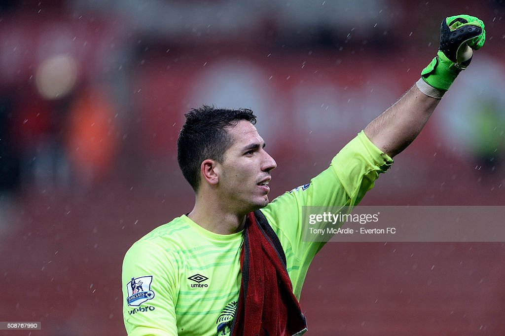 Joel Robles of Everton acknowledges the travelling support during the Barclays Premier League match between Stoke City v Everton at the Britannia Stadium on February 6, 2016 in Stoke on Trent, England.