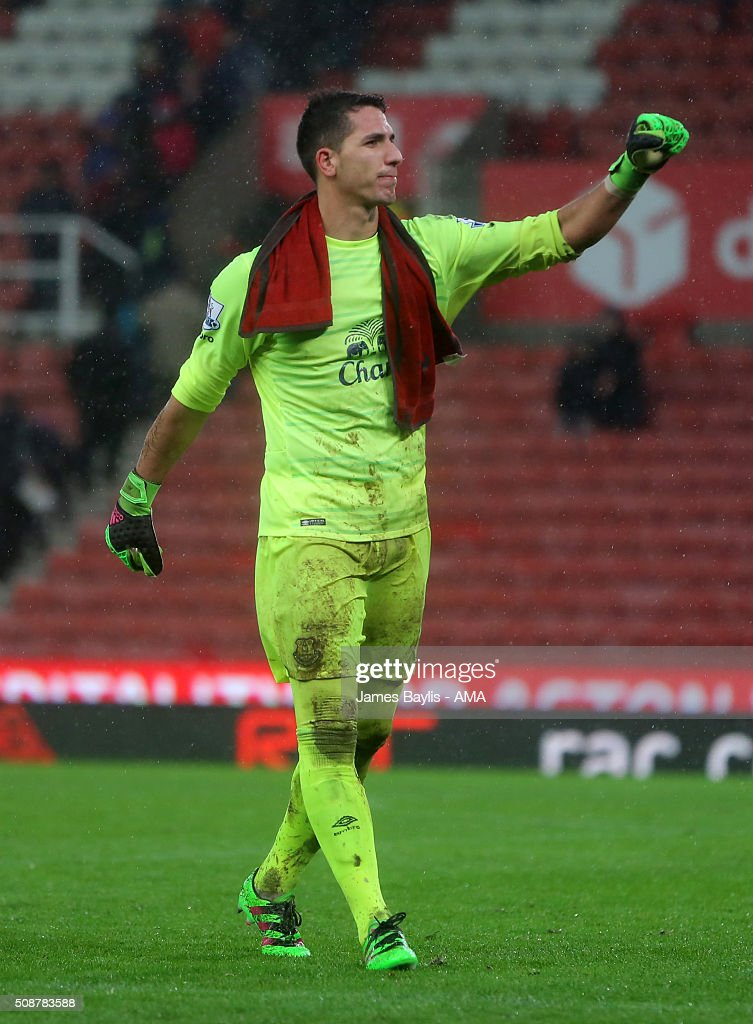 Joel Robles of Everton during the Barclays Premier League match between Stoke City and Everton at the Britannia Stadium on February 06, 2016 in Stoke-on-Trent, England.