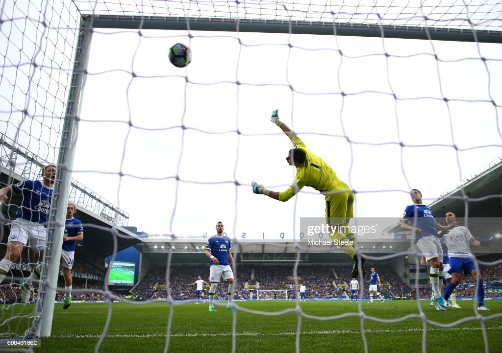 Joel Robles of Everton fails to stop a free kick by Marc Albrighton of Leicester City for the team's second goal during the Premier League match between Everton and Leicester City at Goodison Park on April 9, 2017 in Liverpool, England.