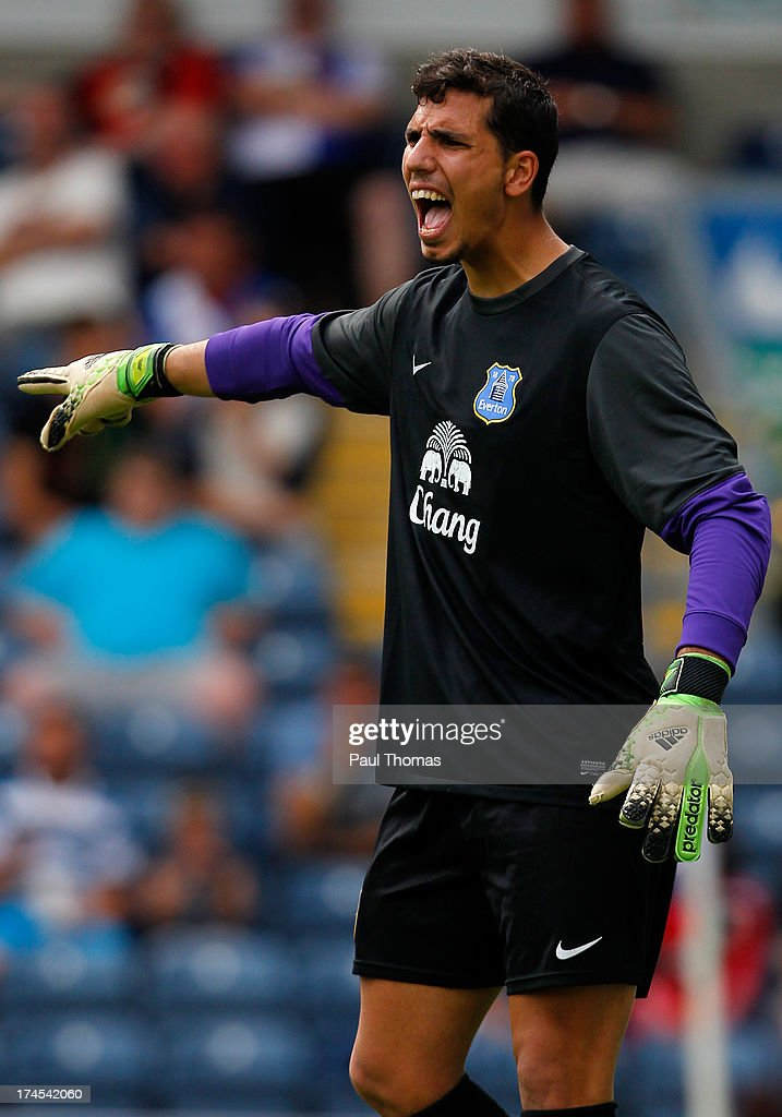 Joel Robles of Everton in action during the Pre Season Friendly match between Blackburn Rovers and Everton FC at Ewood Park on July 27, 2013 in Blackburn, England