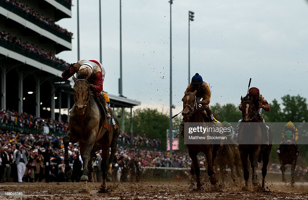 Joel Rosario atop Orb on his way to winning the 139th running of the Kentucky Derby at Churchill Downs on May 4, 2013 in Louisville, Kentucky.