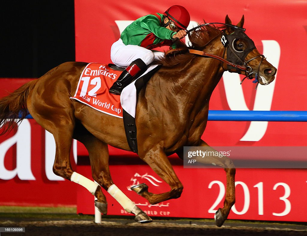 Joel Rosario on Animal Kingdom competes before winning the $10 million Dubai World Cup, the world's richest race, at Meydan race track in Dubai on March 30, 2013. The 2011 Kentucky Derby winner (11/2), trained by American Graham Motion and ridden by Rosario, beat home English raider Red Cadeaux by two lengths while another English-trained runner Planteur was third.