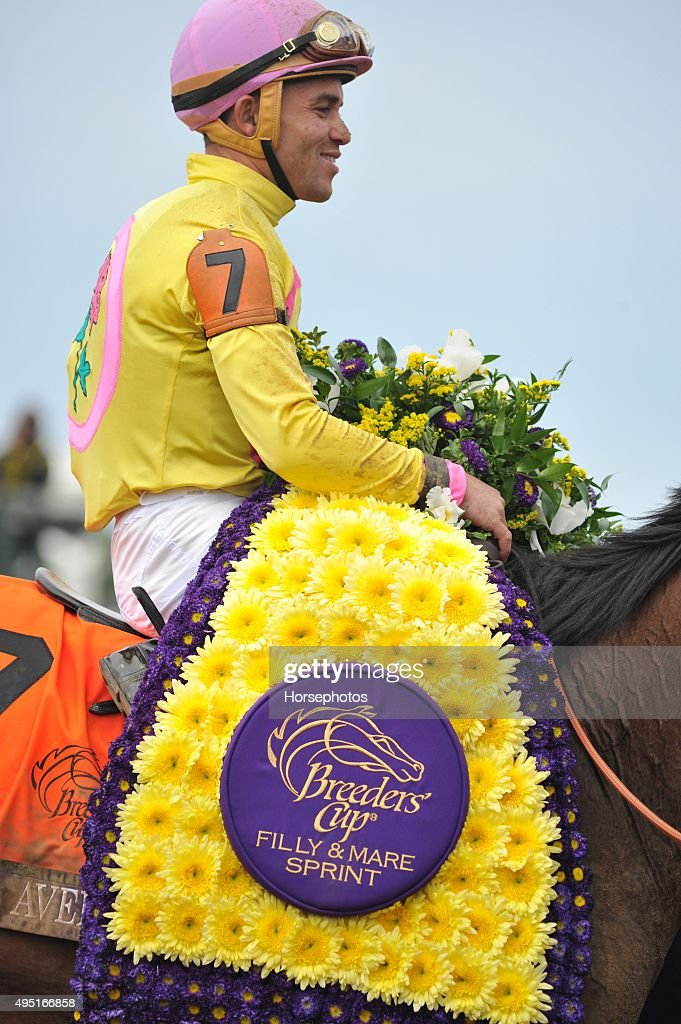 <a gi-track='captionPersonalityLinkClicked' href=/galleries/search?phrase=Joel+Rosario&family=editorial&specificpeople=6495860 ng-click='$event.stopPropagation()'>Joel Rosario</a> rides Wavell Avenue to win the Breeders Cup Filly and Mare Sprint at Keeneland Race Track on October 31,2015 in Lexington, Kentucky