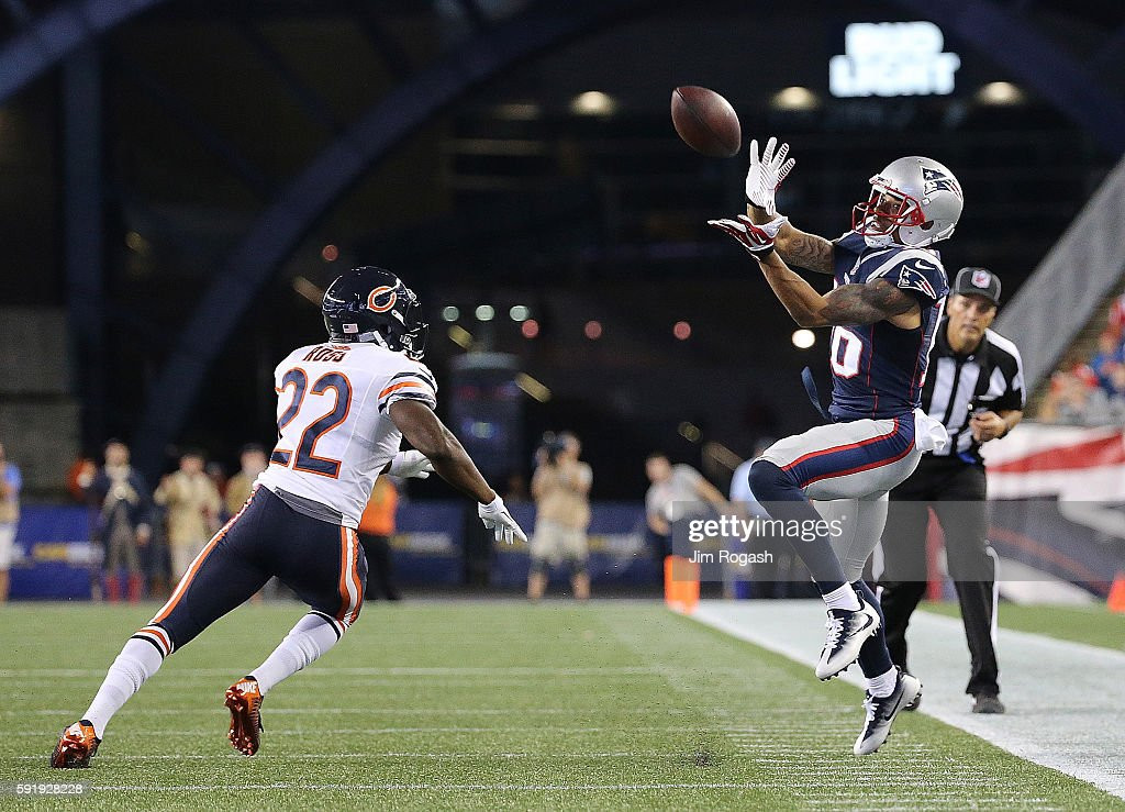 Joel Ross of the Chicago Bears defends as Matthew Slater of the New England Patriots catches a pass but lands out of bounds in the second half of a...