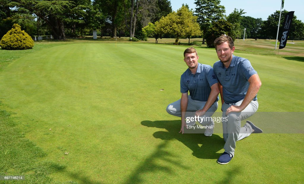 Joel Saunders and Laurence Allen of Verulam Golf Club winners of the Golfbreaks.com PGA Fourball Championship East Qualifier at Bush Hill Park Golf Club on June 19, 2017 in Enfield, England.
