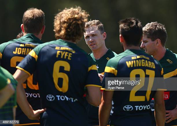 Joel Selwood of Australia looks on during the International Rules practice match between Australia and the NSW Gaelic Football team Tom Wills Oval on...