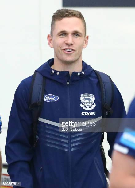 Joel Selwood of the Cats arrives to fly to Adelaide at Melbourne Airport on September 21 2017 in Melbourne Australia