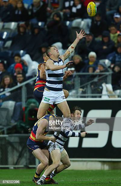 Joel Selwood of the Cats attempts a high mark during the round 18 AFL match between the Geelong Cats and the Adelaide Crows at Simonds Stadium on...