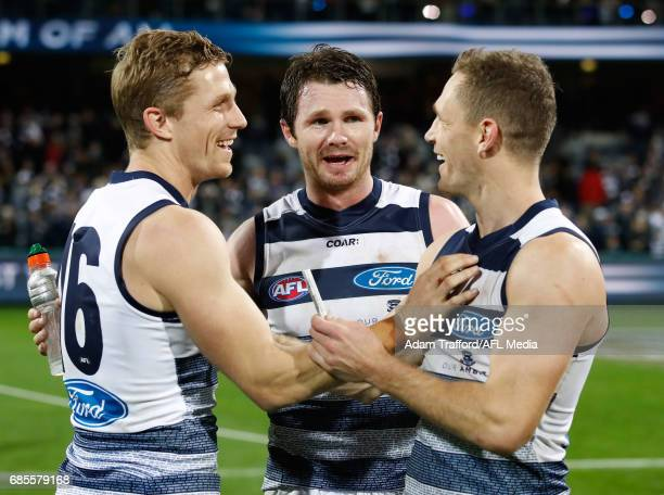 Joel Selwood of the Cats celebrates with brother Scott Selwood and Patrick Dangerfield during the 2017 AFL round 09 match between the Geelong Cats...