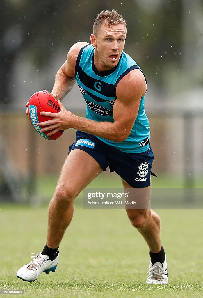 Joel Selwood of the Cats in action during the Geelong Cats training session at Deakin University, Waurn Ponds on January 13, 2017 in Geelong Australia.