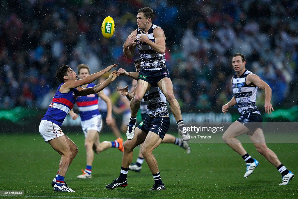 <a gi-track='captionPersonalityLinkClicked' href=/galleries/search?phrase=Joel+Selwood&family=editorial&specificpeople=4521436 ng-click='$event.stopPropagation()'>Joel Selwood</a> of the Cats jumps at the ball during the round 16 AFL match between the Geelong Cats and the Western Bulldogs at Skilled Stadium on July 6, 2014 in Melbourne, Australia.
