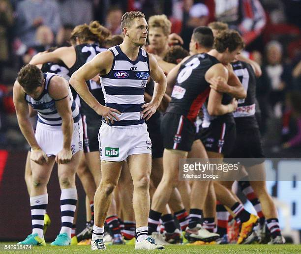 Joel Selwood of the Cats looks dejected after losing during the round 14 AFL match between the St Kilda Saints and the Geelong Cats at Etihad Stadium...