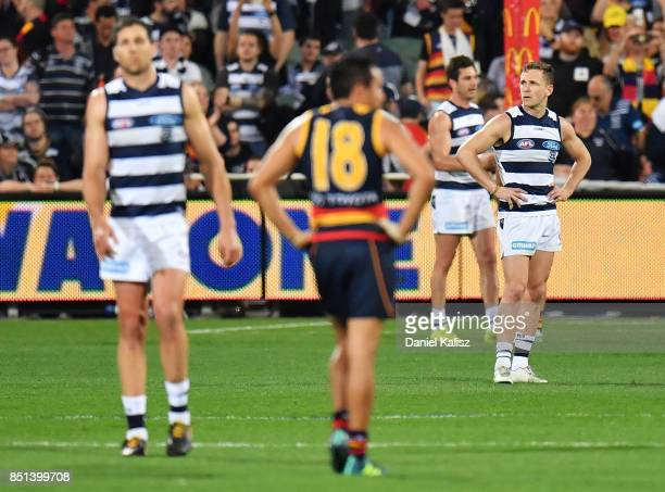 Joel Selwood of the Cats looks on dejected after the final siren during the First AFL Preliminary Final match between the Adelaide Crows and the...
