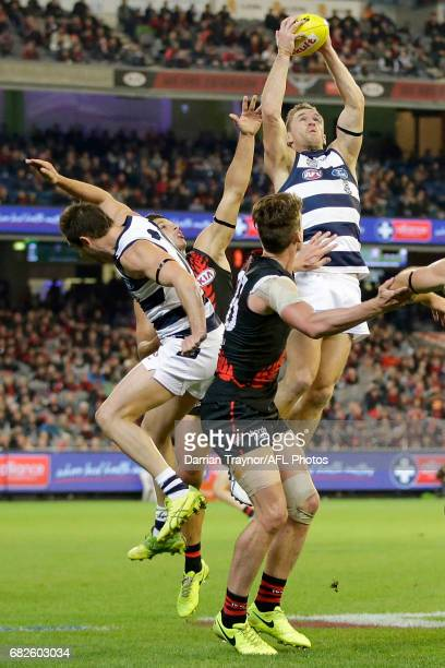 Joel Selwood of the Cats marks the ball during the round eight AFL match between the Essendon Bombers and the Geelong Cats at Melbourne Cricket...