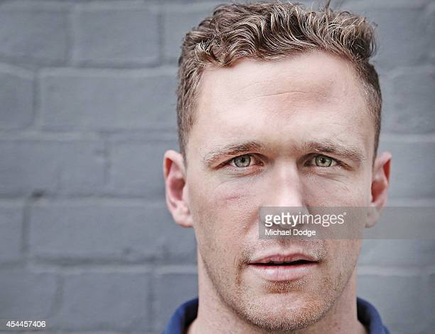 Joel Selwood of the Cats poses during the AFL Finals Series Launch at Fox Footy on September 1 2014 in Melbourne Australia
