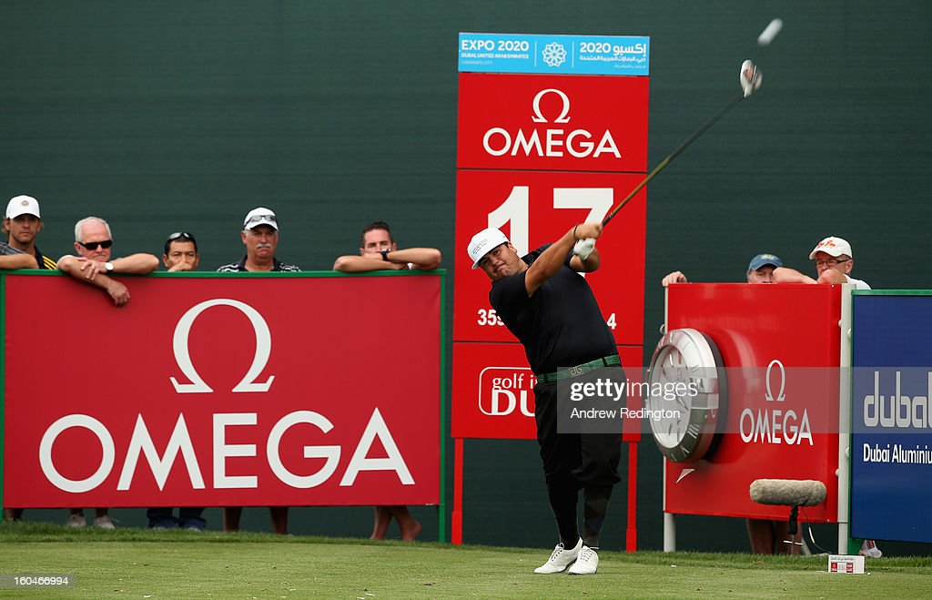 Joel Sjoholm of Sweden in action during the second round of the Omega Dubai Desert Classic at Emirates Golf Club on February 1, 2013 in Dubai, United Arab Emirates.
