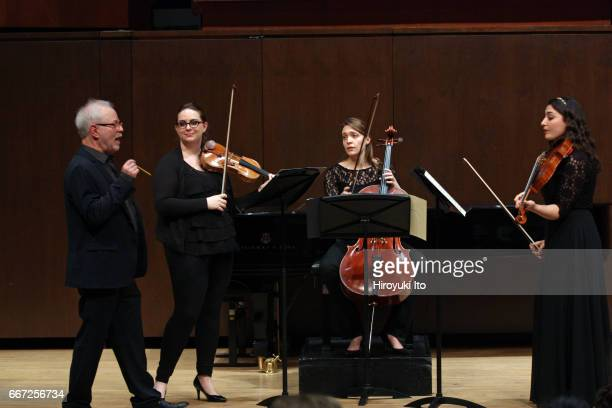 Joel Smirnoff Master Class at the Juilliard School's Paul Hall on Monday afternoon March 27 2017 This image From left Joel Smirnoff Jessica Fellows...
