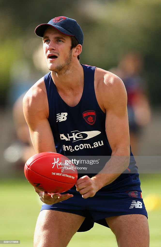 Joel Smith of the Demons handballs during a Melbourne Demons AFL pre-season training session at Gosch's Paddock on February 9, 2016 in Melbourne, Australia.