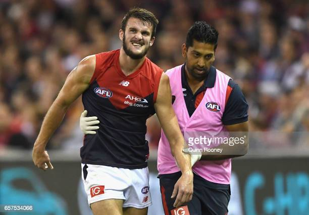 Joel Smith of the Demons is helped from the ground with an injured shoulder during the round one AFL match between the St Kilda Saints and the...