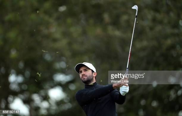 Joel Stalter of France hits his second shot on the first hole during day one of Made in Denmark at Himmerland Golf Spa Resort on August 24 2017 in...