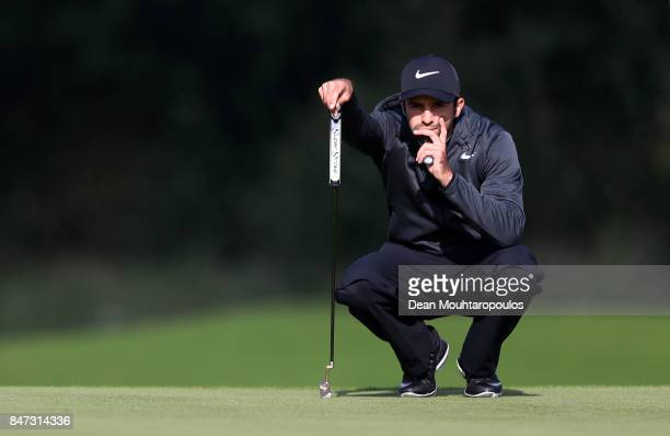Joel Stalter of France lines up a putt on the 11th hole during day two of the KLM Open at The Dutch on September 15 2017 in Spijk Netherlands