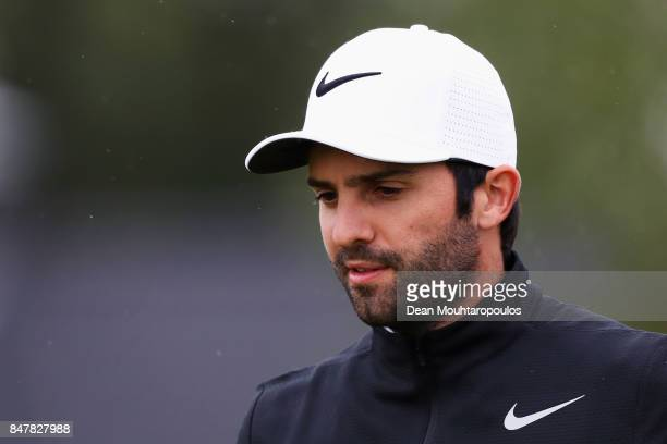 Joel Stalter of France looks on after he hits his tee shot on the 3rd hole during day 3 of the European Tour KLM Open held at The Dutch on September...