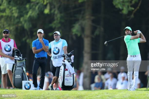 Joel Stalter of France tees off on the 13th hole during day three of the BMW International Open at Golfclub Munchen Eichenried on June 24 2017 in...