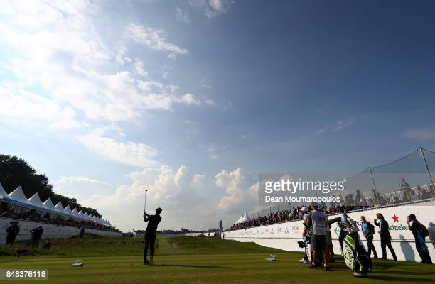 Joel Stalter of France tees off on the 14th hole during Day Four of the KLM Open at The Dutch on September 17 2017 in Spijk Netherlands
