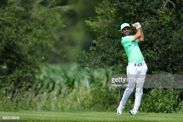 Joel Stalter of France tees off on the 3rd hole during day three of the BMW International Open at Golfclub Munchen Eichenried on June 24 2017 in...