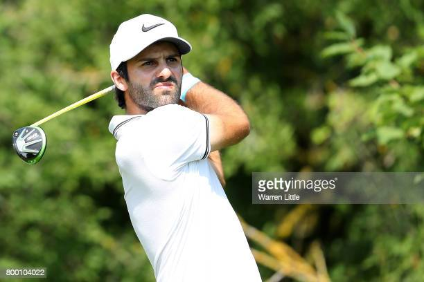 Joel Stalter of France tees off on the 3rd hole during day two of the BMW International Open at Golfclub Munchen Eichenried on June 23 2017 in Munich...