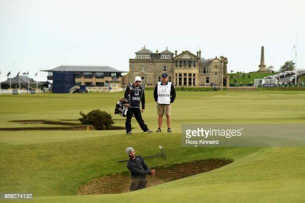 Joel Stalter plays his 5th shot on the 17th during day two of the 2017 Alfred Dunhill Championship at The Old Course on October 6 2017 in St Andrews...