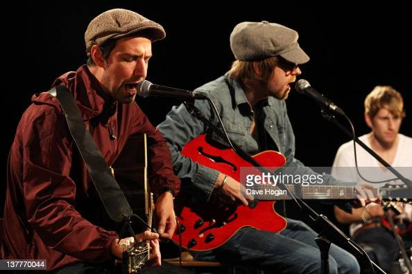 Joel Stoker and Lucas Crowther of The Rifles perform for a Biz Session to promote their new album 'Freedom Run' on November 4 2011 in London United...