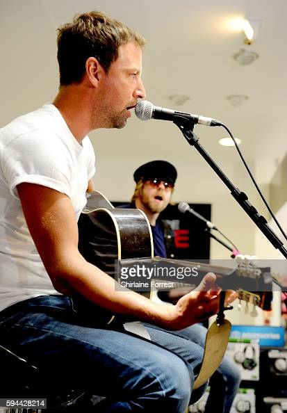 Joel Stoker and Lucas Crowther of The Rifles perform live and meet fans to celebrate the launch of their album 'Big Life' at HMV Manchester on August...