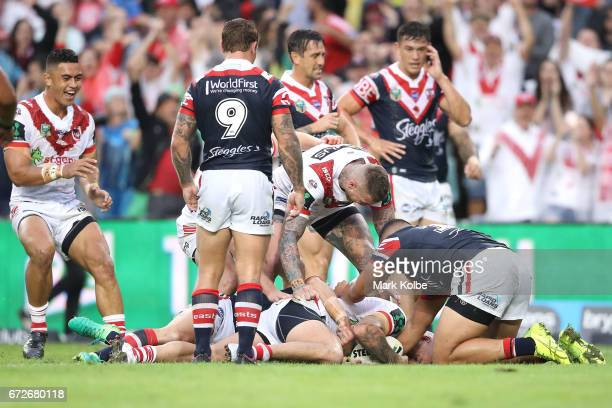 Joel Thompson of the Dragons scores try during the round eight NRL match between the Sydney Roosters and the St George Illawarra Dragons at Allianz...