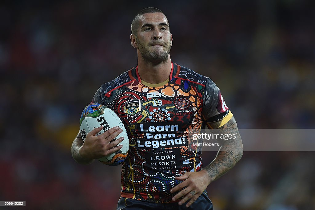 Joel Thompson of the Indigenous All Stars warms up before the NRL match between the Indigenous All-Stars and the World All-Stars at Suncorp Stadium on February 13, 2016 in Brisbane, Australia.