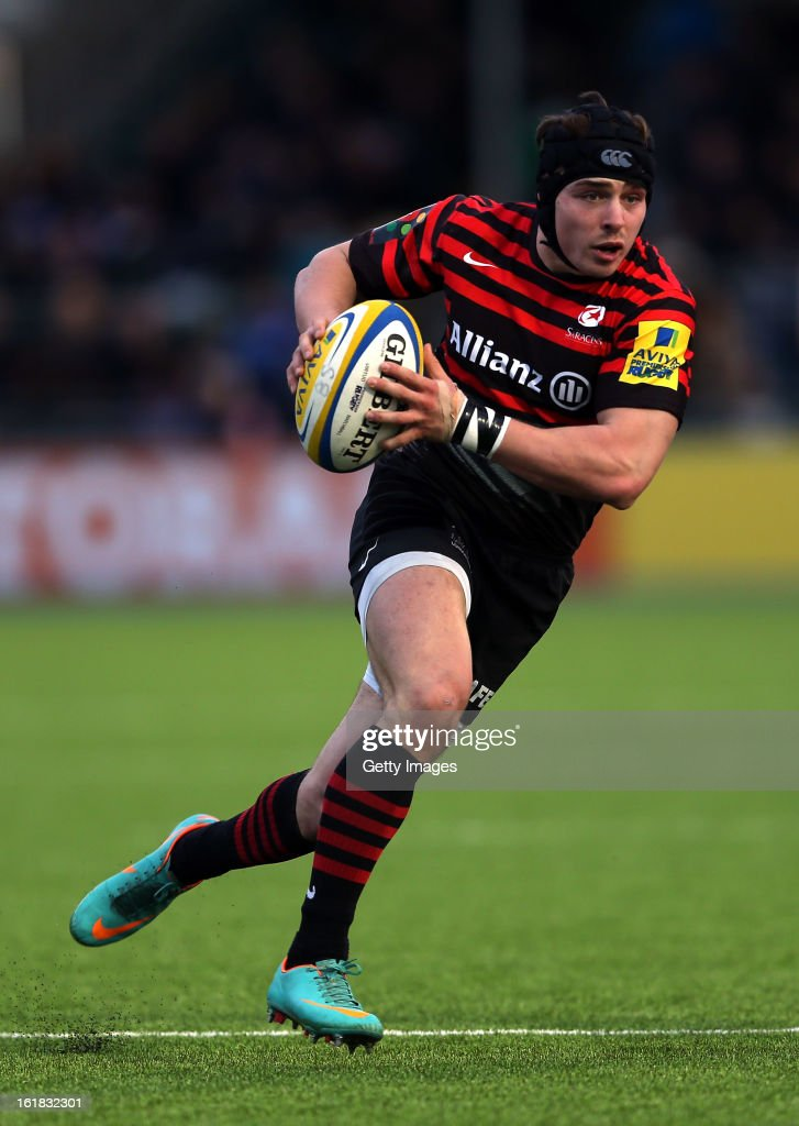 Joel Tomkins of Saracens in action during the Aviva Premiership match between Saracens and Exeter Chiefs at Allianz Park on February 16, 2013 in Barnet, England.