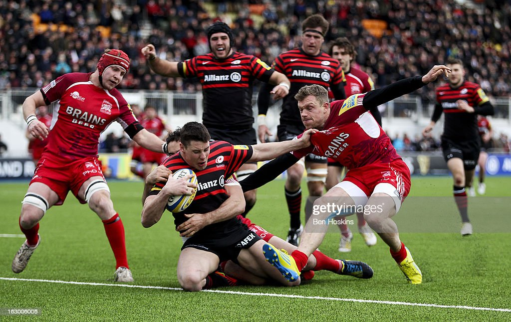 Joel Tomkins of Saracens scores a try during the Aviva Premiership match between Saracens and London Welsh at Allianz Park on March 03, 2013 in Barnet, England.