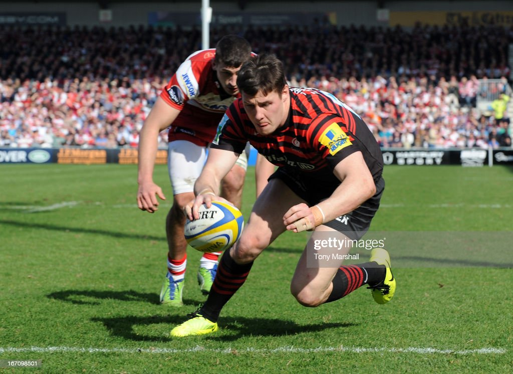 Joel Tomkins of Saracens scores a try during the Aviva Premiership match between Gloucester and Saracens at Kingsholm Stadium on April 20, 2013 in Gloucester, England.