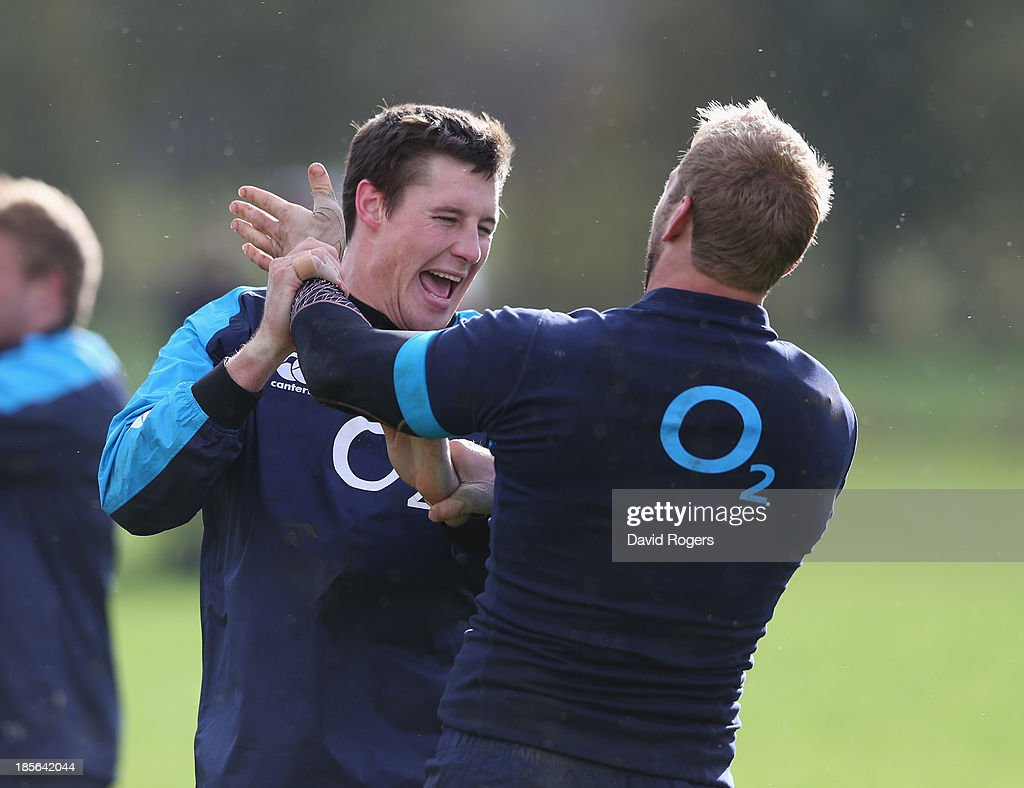 <a gi-track='captionPersonalityLinkClicked' href=/galleries/search?phrase=Joel+Tomkins&family=editorial&specificpeople=4294522 ng-click='$event.stopPropagation()'>Joel Tomkins</a> (L) tustles with team mate <a gi-track='captionPersonalityLinkClicked' href=/galleries/search?phrase=Chris+Robshaw&family=editorial&specificpeople=2375303 ng-click='$event.stopPropagation()'>Chris Robshaw</a> during the England training session held at West Park Leeds Rugby Club on October 23, 2013 in Leeds, England.