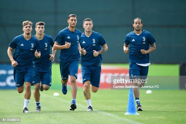 Joel Untersee Riccardo Orsolini Rolando Mandragora Luca Marrone Andre Tello of Juventus during the morining training session on July 11 2017 in...