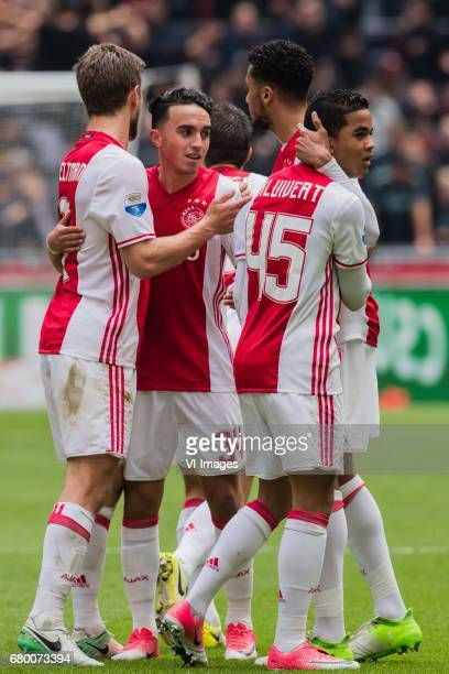 Joel Veltman of Ajax Abdelhak Nouri of Ajax Nick Viergever of Ajax Jairo Riedewald of Ajax Justin Kluivert of Ajaxduring the Dutch Eredivisie match...