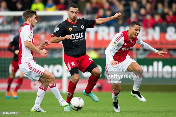 Joel Veltman of Ajax Adil Auassar of Excelsior Khalid Karami of Excelsior during the Dutch Eredivisie match between Excelsior Rotterdam and Ajax...