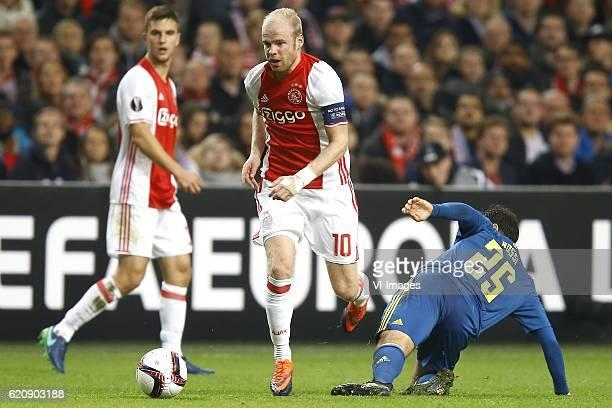 Joel Veltman of Ajax Amsterdam Davy Klaassen of Ajax Amsterdam Giuseppe Rossi of Celta de Vigoduring the UEFA Europa League group G match between...