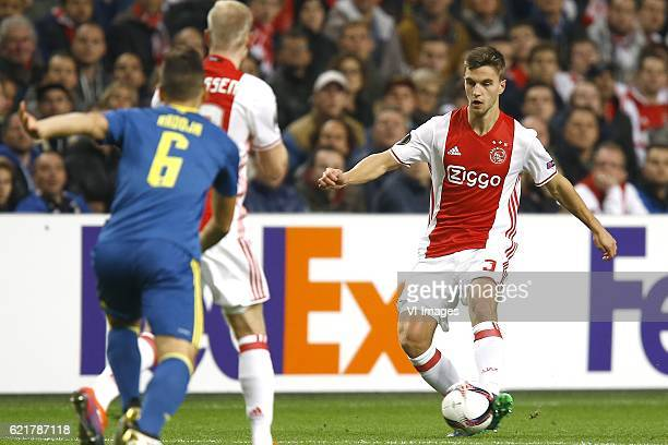 Joel Veltman of Ajax Amsterdamduring the UEFA Europa League group G match between Ajax Amsterdam and Celta de Vigo at the Amsterdam Arena on November...