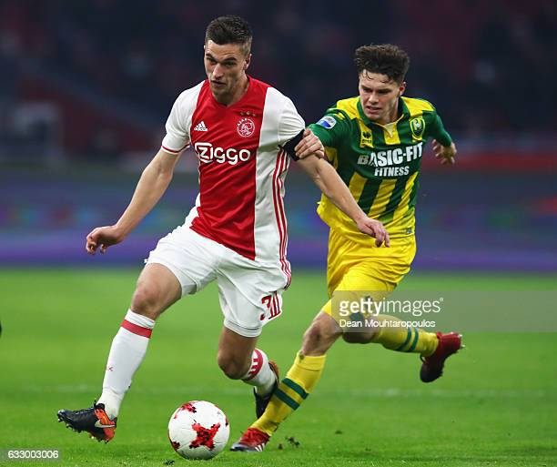 Joel Veltman of Ajax battles for the ball with Danny Bakker of ADO Den Haag during the Eredivisie match between Ajax Amsterdam and ADO Den Haag held...