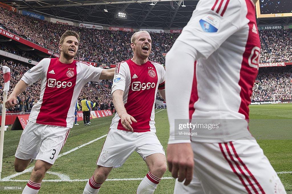 Joel Veltman of Ajax, Davy Klaassen of Ajax celebrate, Viktor Fischer during the Dutch Eredivisie match between Ajax Amsterdam and FC Twente at the Amsterdam Arena on May 01, 2016 in Amsterdam, The Netherlands