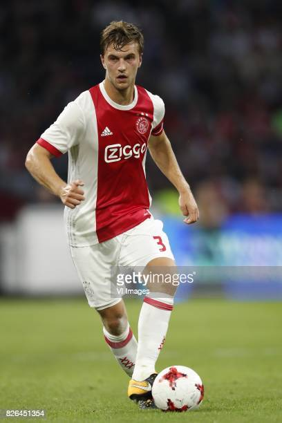Joel Veltman of Ajax during the UEFA Champions League third round qualifying first leg match between Ajax Amsterdam and OGC Nice at the Amsterdam...