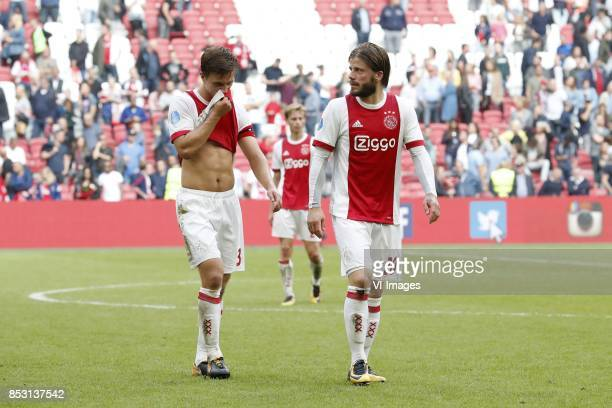 Joel Veltman of Ajax Frenkie de Jong of Ajax Lasse Schone of Ajax during the Dutch Eredivisie match between Ajax Amsterdam and Vitesse Arnhem at the...