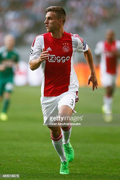 Joel Veltman of Ajax in action during the third qualifying round 2nd leg UEFA Champions League match between Ajax Amsterdam and SK Rapid Vienna held...