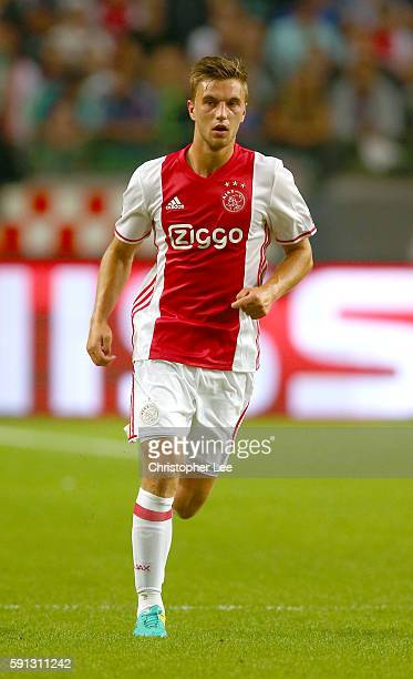 Joel Veltman of Ajax in action during the UEFA Champions League Playoff 1st Leg match between Ajax and Rostov at Amsterdam Arena on August 16 2016 in...
